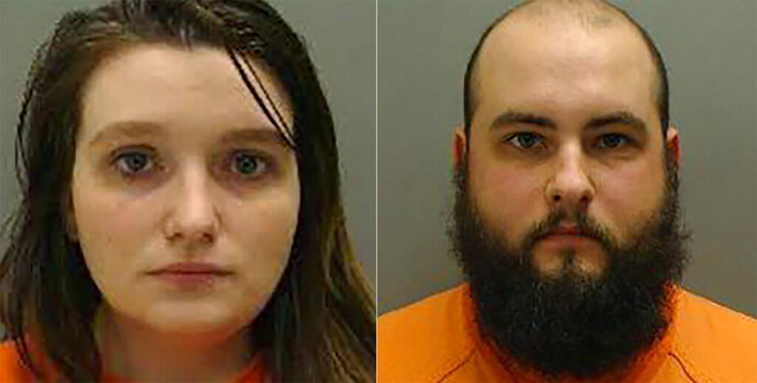 This combination of January 2019 booking photos from Cass County, Neb., show Kassandra Krutina, left, and David Krutina. The eastern Nebraska couple were sentenced Monday, Oct. 21 to five years of probation for the death of one of their malnourished infant twin daughters. (Cass County, Neb via AP)