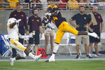 Arizona State receiver Frank Darby (84) makes a catch as Kent State cornerback Jamal Parker (7) defends during the first half of an NCAA college football game Thursday, Aug. 29, 2019, in Tempe, Ariz. (AP Photo/Ralph Freso)