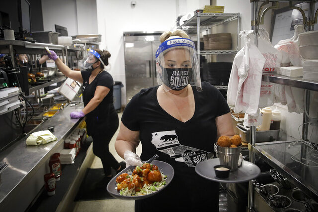 A waitress takes a food order from the kitchen at Slater's 50/50 Wednesday, July 1, 2020, in Santa Clarita, Calif. California Gov. Gavin Newsom has ordered a three-week closure of bars, indoor dining and indoor operations of several other types of businesses in various counties, including Los Angeles, as the state deals with increasing coronavirus cases and hospitalizations. (AP Photo/Marcio Jose Sanchez)