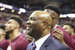 Florida State's head coach Leonard Hamilton celebrates with his team their first ever ACC championship after an NCAA college basketball game against Boston College Saturday, March 7 2020, in Tallahassee, Fla. Florida State won 80-62. (AP Photo/Steve Cannon)