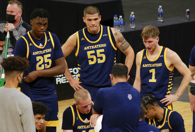 UC Irvine's Emmanuel Tshimanga (25), Brad Greene (55) and Dawson Baker (1) are shown during a late-game timeout during an NCAA college basketball game for the championship of the Big West Conference men's tournament Saturday, March 13, 2021, in Las Vegas. UC Santa Barbara won 79 to 63. (AP Photo/Ronda Churchill)