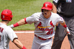 St. Louis Cardinals' Lars Nootbaar (68) celebrates with Tommy Edman after, left, after hitting a two-run home run off Pittsburgh Pirates starting pitcher JT Brubaker during the fourth inning of a baseball game in Pittsburgh, Thursday, Aug. 12, 2021. (AP Photo/Gene J. Puskar)