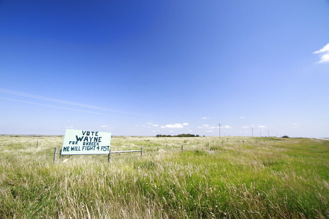 A sign for a tribal council candidate on the Rosebud Indian Reservation is shown on Aug. 6, 2020. An Associated Press analysis in Democratic primaries in South Dakota showed that turnout was 10% lower among voters who lived in counties with a majority American Indian population and at least 95% of the county on reservation land. Voter advocates say that long trips to access polling places and the fact that some people lack reliable transportation has led to low voter turnout. (AP Photo/Stephen Groves)