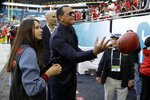 Former Major League Baseball star Alex Rodriguez tosses a football before the NFL Super Bowl 54 football game between the San Francisco 49ers and Kansas City Chiefs Sunday, Feb. 2, 2020, in Miami Gardens, Fla. (AP Photo/Chris O'Meara)