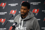 Tampa Bay Buccaneers quarterback Jameis Winston (3) reacts to a question during a post-game news conference after an NFL football game against the New Orleans Saints Sunday, Nov. 17, 2019, in Tampa, Fla. (AP Photo/Mark LoMoglio)