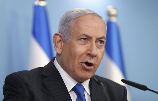 """Israeli Prime Minister Benjamin Netanyahu announces full diplomatic ties will be established with the United Arab Emirates, during a news conference on Thursday, Aug. 13, 2020 in Jerusalem.  In a nationally broadcast statement, Netanyahu said the """"full and official peace"""" with the UAE would lead to cooperation in many spheres between the countries and a """"wonderful future"""" for citizens of both countries. (Abir Sultan/Pool Photo via AP)"""
