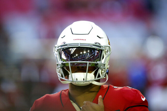 Arizona Cardinals quarterback Kyler Murray warms up prior to an NFL football game against the Los Angeles Rams, Sunday, Dec. 1, 2019, in Glendale, Ariz. (AP Photo/Ross D. Franklin)