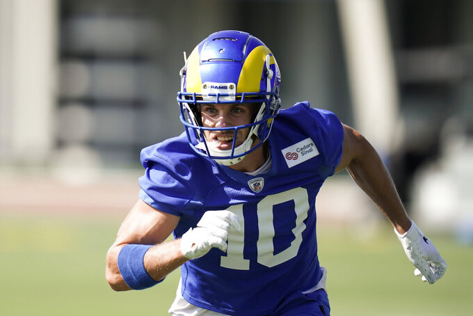 Los Angeles Rams wide receiver Cooper Kupp runs during an NFL football camp practice Thursday, Aug. 27, 2020, in Thousand Oaks, Calif. (AP Photo/Jae C. Hong)