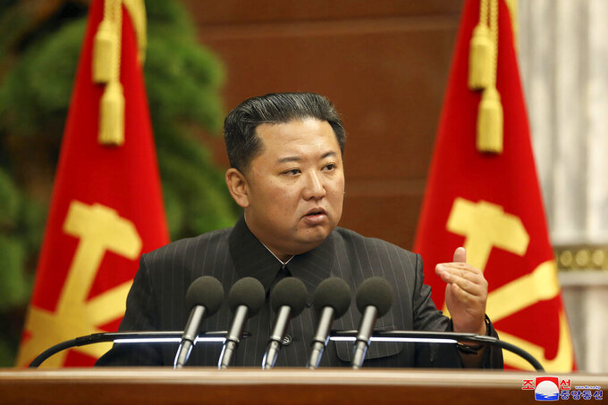 """In this photo provided by the North Korean government, North Korean leader Kim Jong Un delivers a speech during a Politburo meeting in Pyongyang, North Korea Thursday, Sept. 2, 2021. Independent journalists were not given access to cover the event depicted in this image distributed by the North Korean government. The content of this image is as provided and cannot be independently verified. Korean language watermark on image as provided by source reads: """"KCNA"""" which is the abbreviation for Korean Central News Agency. (Korean Central News Agency/Korea News Service via AP)"""