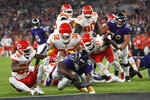 Baltimore Ravens running back Latavius Murray (28) scores a touchdown in the first half of an NFL football game against the Kansas City Chiefs, Sunday, Sept. 19, 2021, in Baltimore. (AP Photo/Nick Wass)