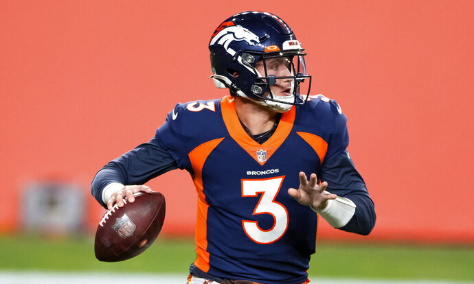 Denver Broncos quarterback Drew Lock (3) looks to pass against the Tennessee Titans during the first half of an NFL football game, Monday, Sept. 14, 2020, in Denver. The Kansas City Chiefs play at the Denver Broncos on Sunday, Oct. 25. (AP Photo/Justin Edmonds, File)