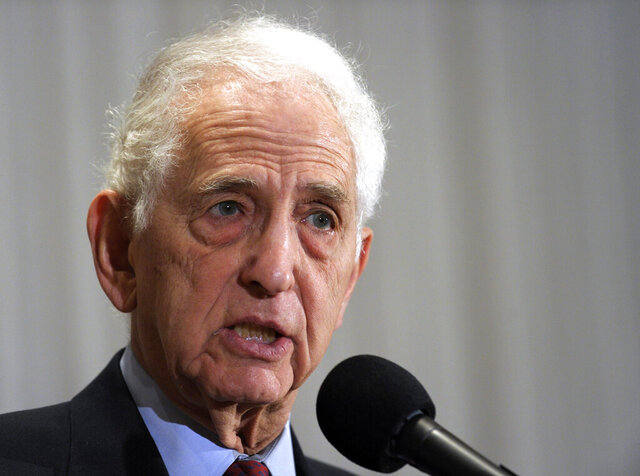 "FILE - In this Dec. 16, 2010 file photo, Vietnam-era whistleblower Daniel Ellsberg speaks during a news conference at the National Press Club in Washington. Ellsberg, one of the most famous whistleblowers in living memory, came to the defense of WikiLeaks founder Julian Assange in his legal fight to avoid extradition to the United States from Britain, on Wednesday, Sept. 16, 2020. He told London's Central Criminal Court that the pair had ""very comparable political opinions."" (AP Photo/Susan Walsh, File)"