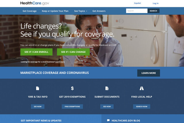 """In this image provided by U.S. Centers for Medicare & Medicaid Service, the website for HealthCare.gov is seen. The Trump administration's opposition to """"Obamacare"""" could become an obstacle to helping millions of uninsured people in the coronavirus outbreak, as well as many workers who are losing coverage because of the economic shutdown. Experts say the Affordable Care Act's insurance markets provide an infrastructure for extending subsidized private coverage in every state. (U.S. Centers for Medicare & Medicaid Service via AP)"""