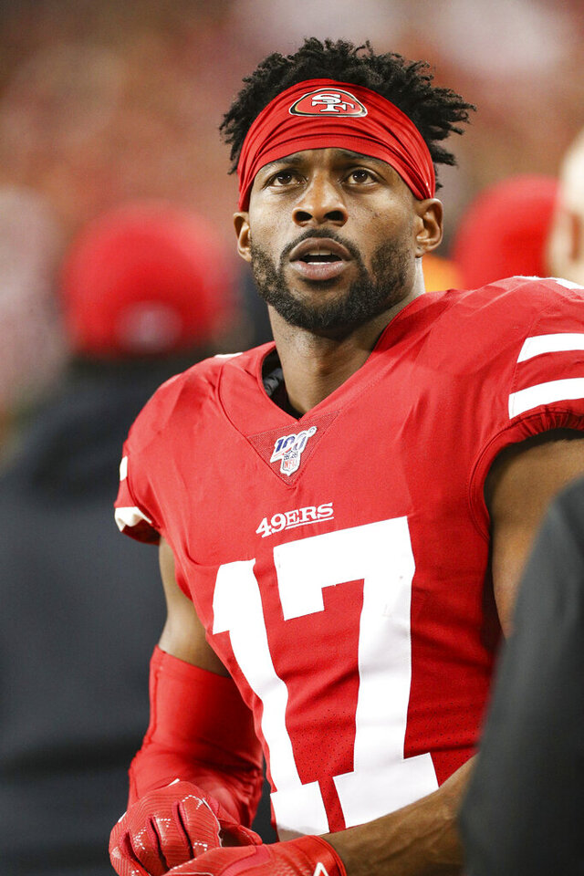 San Francisco 49ers wide receiver Emmanuel Sanders (17) takes a break in the NFL NFC Championship football game against the Green Bay Packers, Sunday, Jan. 19, 2020 in Santa Clara, Calif. The 49ers defeated the Packers 37-20. (Margaret Bowles via AP)