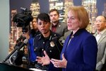 At a press conference at the West Precinct of the Seattle Police Department, Thursday, January 23,2020, Mayor Jenny Durkan, right, discusses issues regarding downtown safety on 3rd Avenue where a 5:01 pm shooting Wednesday, Jan. 22 shooting occurred. Looking on at left is Seattle Police Chief Carmen Best.  (Greg Gilbert/The Seattle Times via AP)