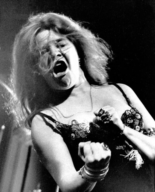 FILE - In this July 29, 1968, file photo, blues/rock singer Janis Joplin performs at the Newport Folk Festival with her band Big Brother and the Holding Company in Costa Mesa, Cal. Threadgill's, a live-music venue in Texas where college student Janis Joplin launched her singing career, will not be reopening after the coronavirus pandemic lifts. The shutdown was to have been temporary, but Wilson made the shutdown permanent Monday, April 20, 2020. (AP Photo, File)