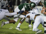 Eastern Michigan quarterback Mike Glass, III, (9) runs the ball against Georgia Southern during the Camellia Bowl  NCAA college football game  in Montgomery, Ala., on Saturday, Dec. 15, 2018. (Jake Crandall/The Montgomery Advertiser via AP)