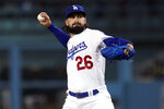 Los Angeles Dodgers starting pitcher Tony Gonsolin throws to an Arizona Diamondbacks batter during the first inning of a baseball game Tuesday, Sept. 14, 2021, in Los Angeles. (AP Photo/Marcio Jose Sanchez)