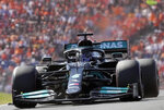 Mercedes driver Lewis Hamilton of Britain steers his car during the Formula One Dutch Grand Prix, at the Zandvoort racetrack, Netherlands, Sunday, Sept. 5, 2021. (AP Photo/Peter Dejong)