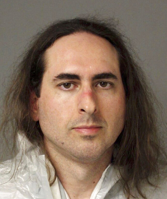 """FILE - This June 28, 2018, file photo provided by the Anne Arundel Police shows Jarrod Ramos in Annapolis, Md. A lawyer says """"evil as all get-out"""" would be a better way of describing the man accused of killing five people at a Maryland newspaper, rather than calling him crazy. Brennan McCarthy, who represented a woman harassed by Jarrod Ramos years ago, testified Thursday, Sept. 5, 2019 during a pretrial hearing. Defense attorneys subpoenaed McCarthy, because they believe he may have documents to support a plea of not criminally responsible.  (Anne Arundel Police via AP, File)"""
