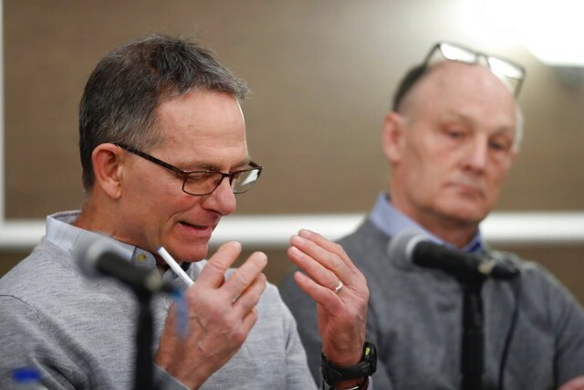 Tad Deluca, a University of Michigan wrestler from the 1970s, speaks during a news a news conference Thursday, Feb. 27, 2020, and identified himself as the whistleblower whose 2018 complaint about the late Dr. Robert E. Anderson led to a police investigation. He says he was kicked off the team and lost his financial aid after complaining to a coach that he had been abused by a sports doctor. (AP Photo/Carlos Osorio)
