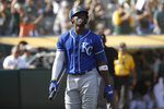 Kansas City Royals' Jorge Soler walks to the dugout after striking out against the Oakland Athletics during the 11th inning of a baseball game in Oakland, Calif., Wednesday, Sept. 18, 2019. The Athletics won 1-0 in 11 innings. (AP Photo/Jeff Chiu)
