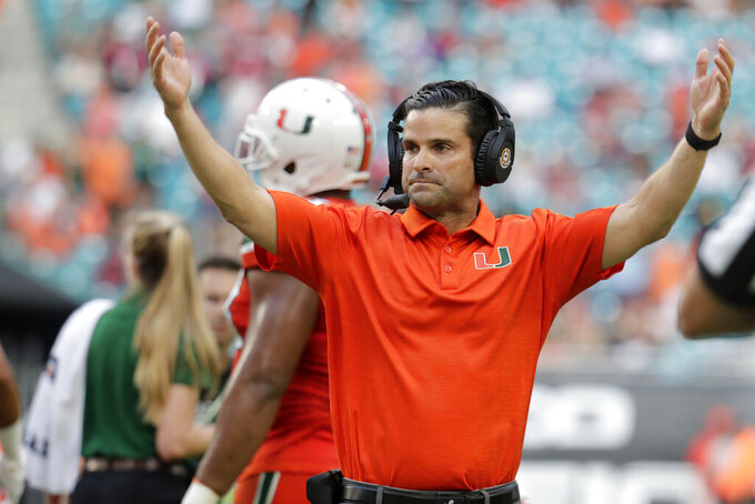 Miami head coach Manny Diaz reacts during the second half of an NCAA college football game against Virginia Tech, Saturday, Oct. 5, 2019, in Miami Gardens, Fla. (AP Photo/Lynne Sladky)