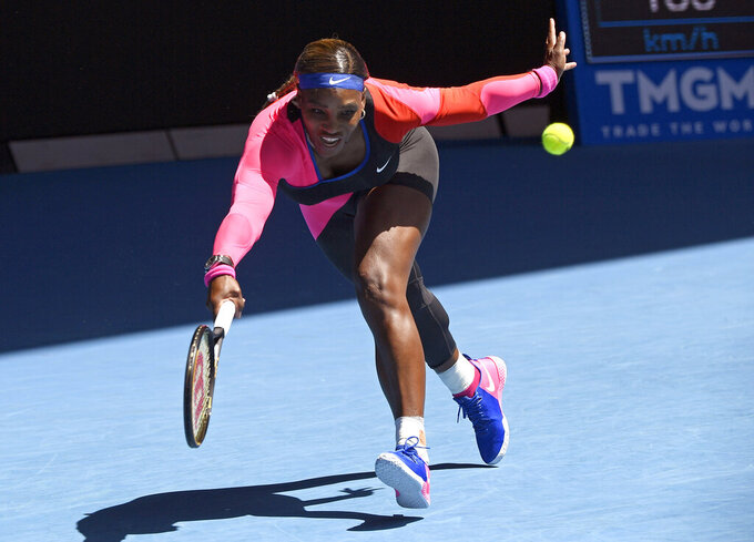 United States' Serena Williams makes a forehand return to Russia's Anastasia Potapova during their third round match at the Australian Open tennis championship in Melbourne, Australia, Friday, Feb. 12, 2021.(AP Photo/Andy Brownbill)