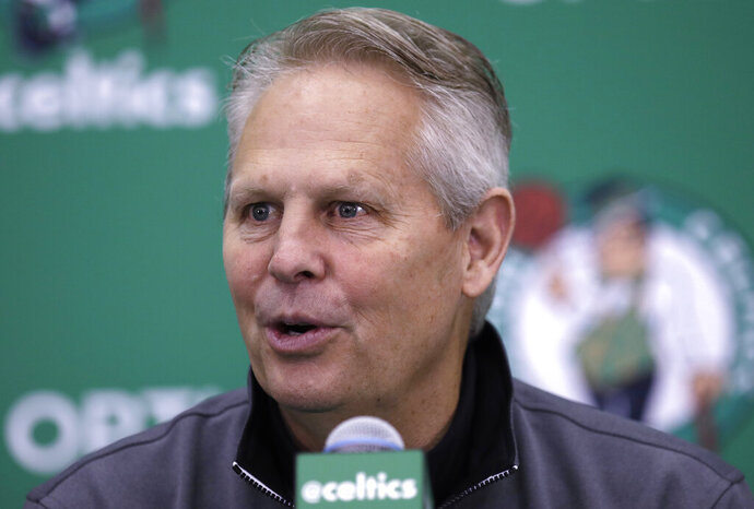 FILE - In this June 23, 2017, file photo, Boston Celtics team president Danny Ainge speaks at the team's practice facility in Waltham, Mass. The Celtics said that Ainge suffered a mild heart attack Tuesday night, April 30, 2019, in Milwaukee, where the team played the Bucks in the second round of the NBA playoffs. The team said he received immediate medical attention and is expected to make a full recovery. (AP Photo/Charles Krupa, File)