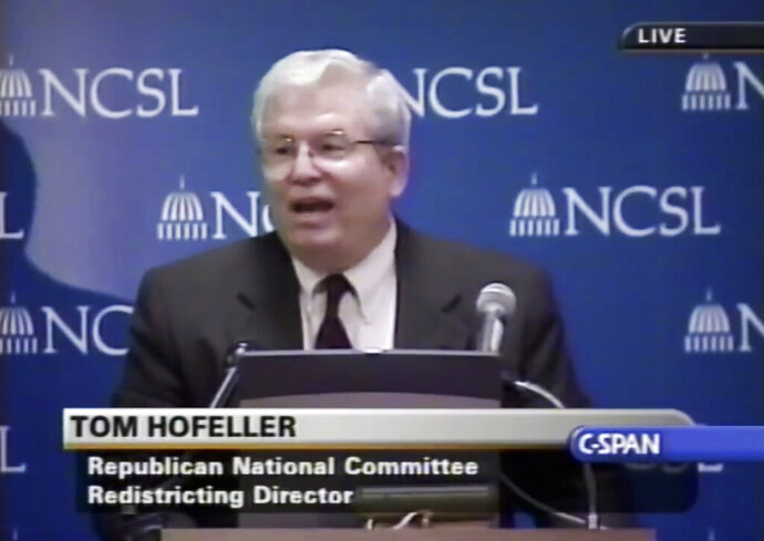 FILE - In this Aug. 13, 2001, file frame from video provided by C-SPAN, Tom Hofeller speaks during an event at the Republican National Committee in Washington. A few dozen computer files recovered from the home of deceased Republican redistricting consultant Hofeller can be offered as evidence in an upcoming partisan gerrymandering trial in North Carolina, state judges ruled on Friday, July 12, 2019. (C-SPAN via AP, File)