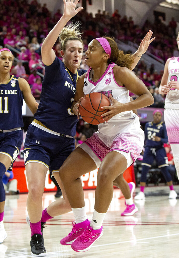 North Carolina State's Kai Crutchfield, right, handles the ball as Notre Dame's Marina Mabrey, left, defends during the first half of an NCAA college basketball game in Raleigh, N.C., Monday, Feb. 18, 2019. (AP Photo/Ben McKeown)