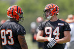 Cincinnati Bengals defensive end Sam Hubbard (94) participates in the NFL football team's rookie minicamp, Friday, May 11, 2018, in Cincinnati.  Hubbard was playing dodgeball when Ohio State coach Urban Meyer first noticed him. He wound up playing defensive end for the Buckeyes and now he will be suiting up for his hometown Bengals. (AP Photo/John Minchillo)