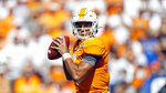 Tennessee quarterback Jarrett Guarantano (2) looks for a receiver in the first half of an NCAA college football game against Georgia State, Saturday, Aug. 31, 2019, in Knoxville, Tenn. (AP Photo/Wade Payne)