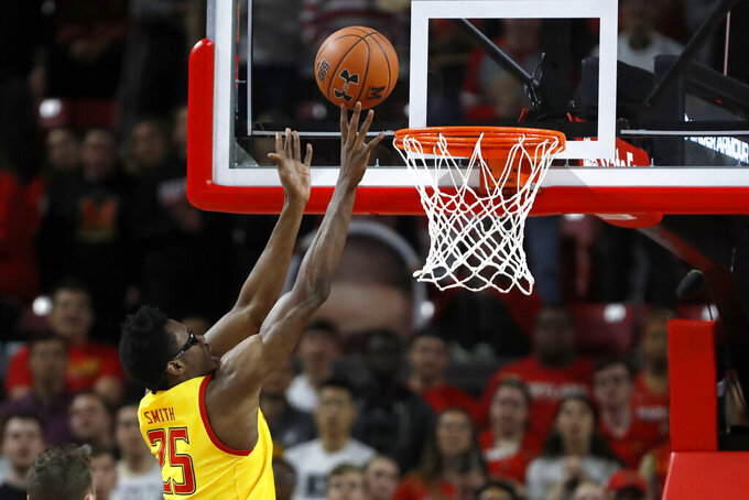 Maryland forward Jalen Smith goes up for a basket against Nebraska during the first half of an NCAA college basketball game, Tuesday, Feb. 11, 2020, in College Park, Md. (AP Photo/Julio Cortez)