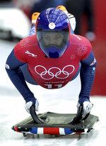Lizzy Yarnold of Britain starts a women's skeleton training run at the 2018 Winter Olympics in Pyeongchang, South Korea, Tuesday, Feb. 13, 2018. (AP Photo/Michael Sohn)