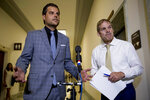 Rep. Matt Gaetz, R-Fla., left, accompanied by Ranking Member Rep. Jim Jordan, R-Ohio, right, speaks to members of the media following a House Judiciary Committee closed door meeting with former federal prosecutor for the Southern District of New York Geoffrey Berman on Capitol Hill, Thursday, July 9, 2020, in Washington. (AP Photo/Andrew Harnik)