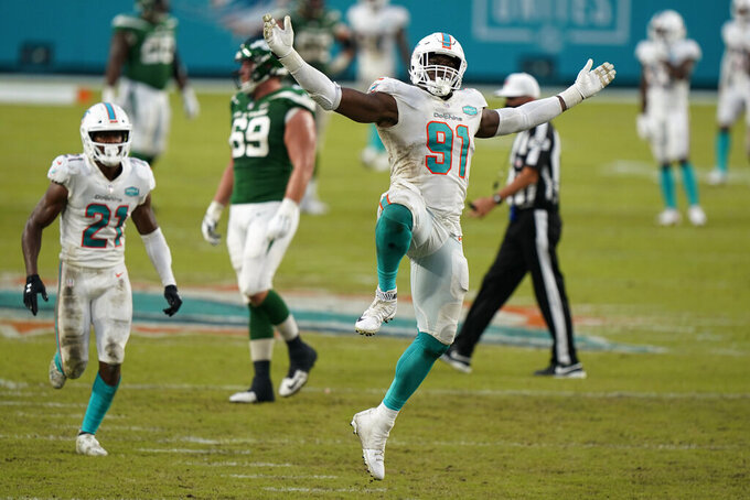 Miami Dolphins defensive end Emmanuel Ogbah (91) celebrates after sacking New York Jets quarterback Joe Flacco during the second half of an NFL football game, Sunday, Oct. 18, 2020, in Miami Gardens, Fla. Ogbah is tied for fourth in the NFL with a career-high seven sacks, more than any Miami player had in all of 2018 or 2019. The L.A. Chargers play at Miami on Sunday. (AP Photo/Wilfredo Lee)