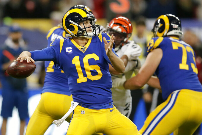 Los Angeles Rams quarterback Jared Goff (16) passes against the Cincinnati Bengals during the first half of an NFL football game, Sunday, Oct. 27, 2019, at Wembley Stadium in London. (AP Photo/Tim Ireland)