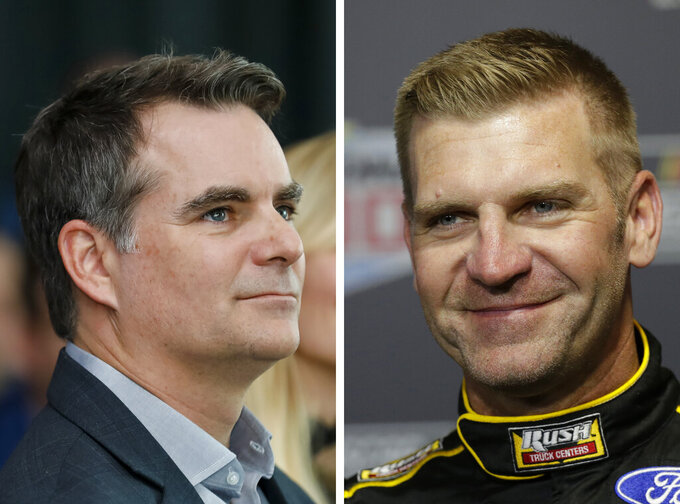 FILE - At left is a 2019 file photo showing Jeff Gordon. At right is a 2020 file photo showing Clint Bowyer. Nearly nine years after the four-time champion and the funniest guy in the garage were involved in one of the most infamous on-track paybacks in NASCAR history, the former rivals are now good friends and eager to share the Fox broadcast booth in 2021. (AP Photo/File)