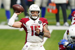 Arizona Cardinals quarterback Chris Streveler (15) passes against the Los Angeles Rams during the first half of an NFL football game in Inglewood, Calif., Sunday, Jan. 3, 2021. (AP Photo/Ashley Landis)