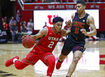 Utah guard Sedrick Barefield (2) drives around Southern California guard Derryck Thornton (5) during the second half of an NCAA college basketball game Thursday, March 7, 2019, in Salt Lake City. (AP Photo/Rick Bowmer)