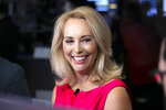 FILE - In this Oct. 22, 2018, file photo, former CIA operative Valerie Plame is interviewed on the floor of the New York Stock Exchange in New York. U.S. Rep. Ben Ray Luján's imminent departure from the northern 3rd District House seat has set off a free-for-all in a seven-way Democratic primary. That race includes Plame and several candidates with deep-rooted connections to Hispanic political traditions and Native American communities. (AP Photo/Richard Drew, File)