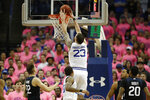 Seton Hall forward Sandro Mamukelashvili (23) dunks with Butler forward Sean McDermott (22) and other defenders watching during the first half of an NCAA college basketball game Wednesday, Feb. 19, 2020, in Newark, N.J. (AP Photo/Kathy Willens)