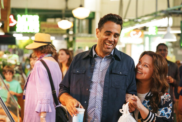 This image released by HBI Max shows Bobby Cannavale, left, and Melissa McCarthy in a scene from