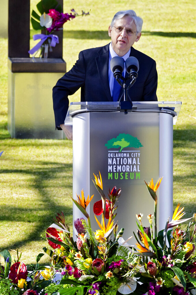 United State Attorney General Merrick Garland speaks during the 26th Anniversary Remembrance Ceremony at the Oklahoma City National Memorial and Museum in Oklahoma City, Okla on Monday, April 19, 2021. (Chris Landsberger/The Oklahoman via AP)