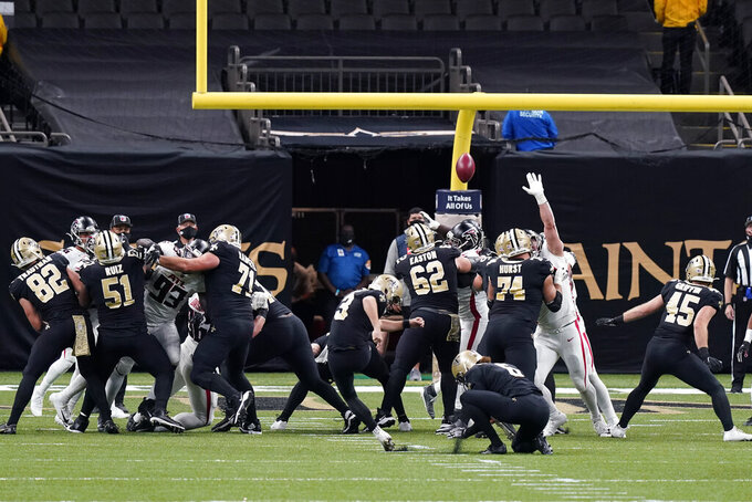 New Orleans Saints kicker Wil Lutz (3) kicks a field goal in the first half of an NFL football game against the Atlanta Falcons in New Orleans, Sunday, Nov. 22, 2020. (AP Photo/Butch Dill)