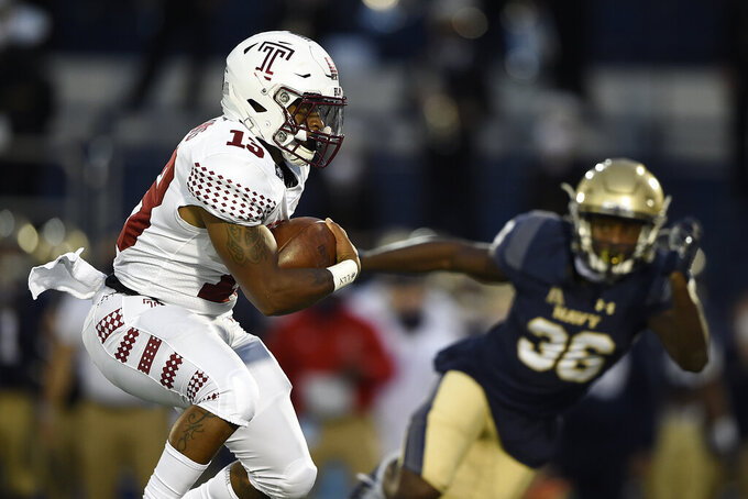 Temple's Ray Davis carries the ball against Navy during the first half of an NCAA college football game Saturday, Oct. 10, 2020, in Annapolis, Md. (AP Photo/Gail Burton)
