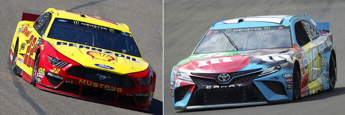 FILE - At left, in a March 10, 2019, file photo, Joey Logano drives during a NASCAR Cup Series auto race at ISM Raceway, in Avondale, Ariz. At right, in an Aug. 3, 2019, file photo, Kyle Busch heads into Turn 1 during a practice run for a NASCAR Cup Series auto race at Watkins Glen International in Watkins Glen, N.Y. One race to go to set NASCAR's championship field and the final four is shaping up to be a repeat of last year. Martin Truex Jr. and Kevin Harvick are already in, while Kyle Busch and Joey Logano are above the cutline headed into Sunday's race at ISM Raceway outside of Phoenix. (AP Photo/File)