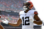 Cleveland Browns wide receiver KhaDarel Hodge celebrates after a 7-yard touchdown pass during the first half of an NFL football game against the New York Giants, Sunday, Aug. 22, 2021, in Cleveland. (AP Photo/David Dermer)