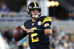 Pittsburgh Steelers quarterback Mason Rudolph (2) looks to throw a pass during the first half of an NFL football game against the Miami Dolphins in Pittsburgh, Monday, Oct. 28, 2019. (AP Photo/Don Wright)